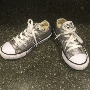 Converse low top silver sneakers size 12 EUC